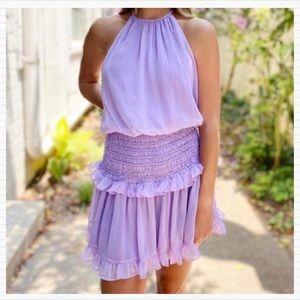 Do + Be Lilac Purple Smocked Ruffle Halter Dress